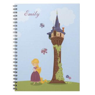 Cuaderno lindo personalizado del rapunzel y de la