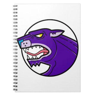 Cuaderno Línea el gruñir de la pantera negra mono