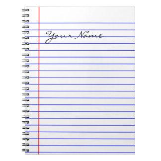 Cuaderno Líneas del libro (puestas su nombre)