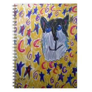 Cuaderno lobo y estrella y luna