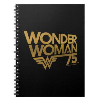 Cuaderno Logotipo del oro del aniversario de la Mujer