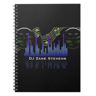 Cuaderno Los altavoces de DJ, personal de la música,