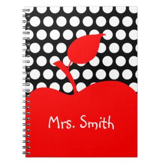 Cuaderno Lunar blanco y negro rojo personalizado de Apple