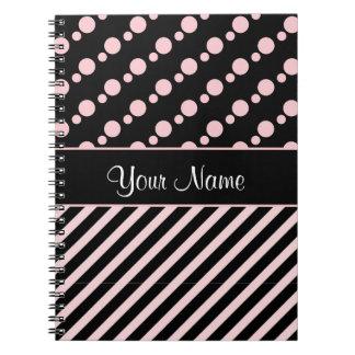 Cuaderno Lunares y rayas rosados en fondo negro