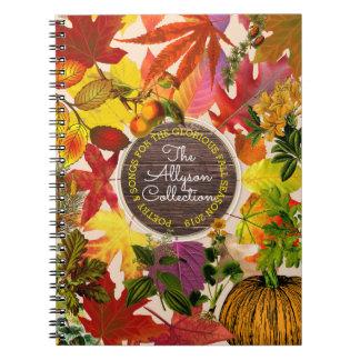 Cuaderno Madera del vintage del monograma del collage de