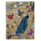 Cuaderno Mariposa linda del pavo real colorido azul del vin