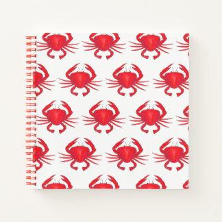 Cuaderno Mariscos rojos del océano de la playa del cangrejo