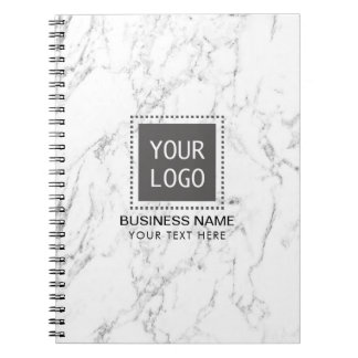 Cuaderno Mármol blanco elegante del logotipo de encargo