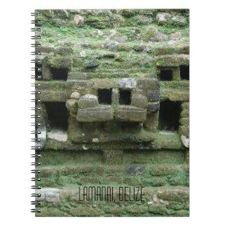 Cuaderno Máscara del templo Lamanai Belice de Jaguar del