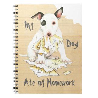 Cuaderno Mi bull terrier miniatura comió mi preparación
