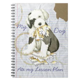 Cuaderno Mi perro pastor inglés viejo comió mi plan de