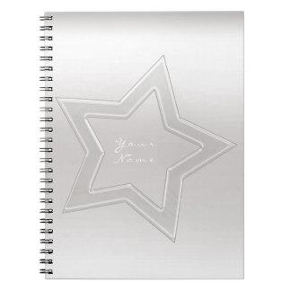 Cuaderno Mínimo de plata gris blanco de cristal de Ombre de