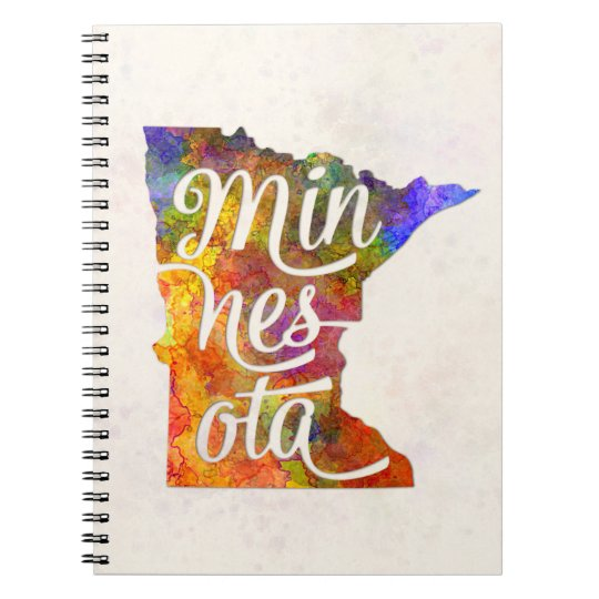 Cuaderno Minnesota US State in watercolor text cut out