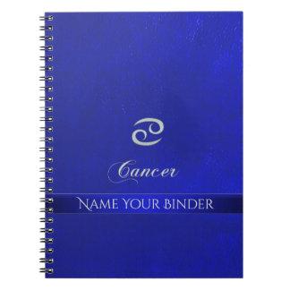 Cuaderno Mirada de cuero azul del cáncer de la muestra del