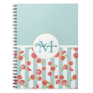 Cuaderno Modelo del pomelo rosado en rayas verdes
