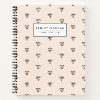 Cuaderno Modelo elegante lindo del rosa del diamante