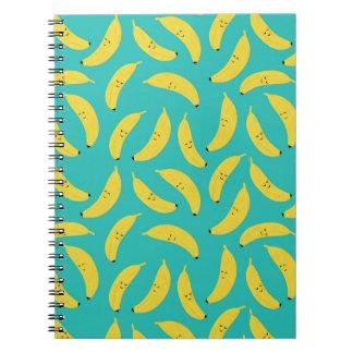 Cuaderno Modelo lindo de la fruta de los plátanos felices