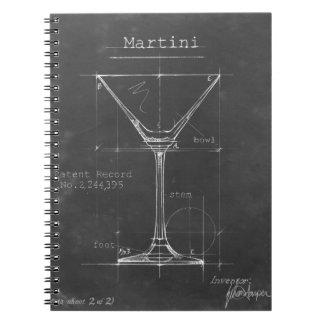 Cuaderno Modelo negro y blanco del vidrio de Martini