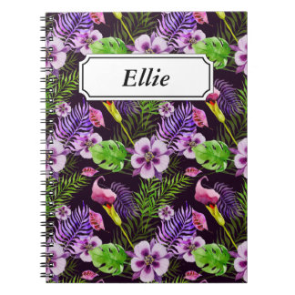 Cuaderno Modelo tropical púrpura negro de la acuarela de la