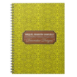 Cuaderno moderno del amarillo del negro del modelo