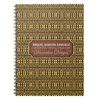 Cuaderno moderno del negro decorativo del oro del