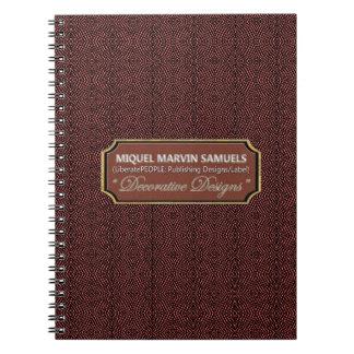 Cuaderno moderno del negro del marrón del modelo