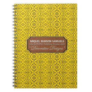 Cuaderno moderno negro amarillo decorativo de los