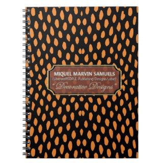Cuaderno moderno negro anaranjado decorativo del