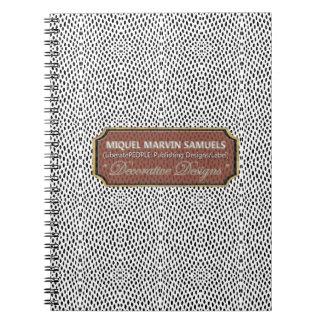 Cuaderno moderno negro blanco del punto decorativo