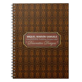 cuaderno moderno negro decorativo de Brown que