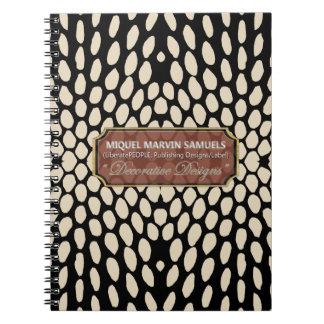 Cuaderno moderno negro poner crema decorativo del