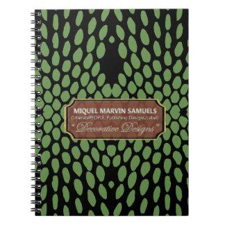 Cuaderno moderno negro verde decorativo del reptil