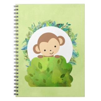 Cuaderno Mono lindo del safari con las hojas tropicales