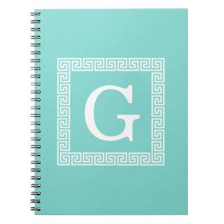 Cuaderno Monograma inicial dominante griego blanco del
