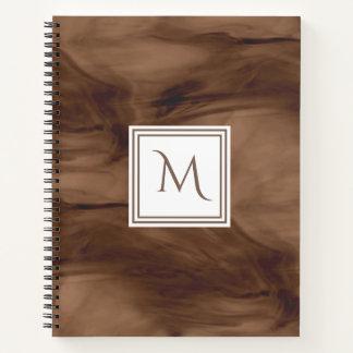 Cuaderno Monograma moderno de mármol sutil oscuro simple de