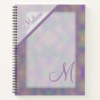 Cuaderno Monograma púrpura del nombre del oro verde