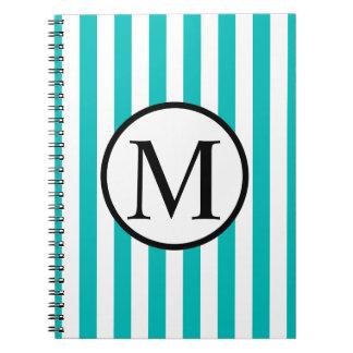 Cuaderno Monograma simple con las rayas verticales de la