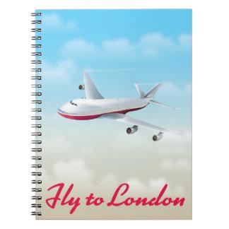 Cuaderno Mosca al poster del avión de Londres