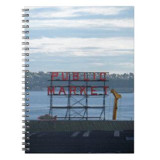 Cuaderno Muestra del mercado de lugar de Seattle Pike