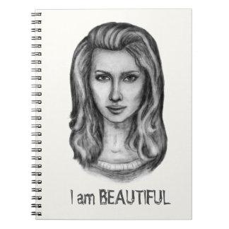 Cuaderno Mujer hermosa. Dibujos de lápiz