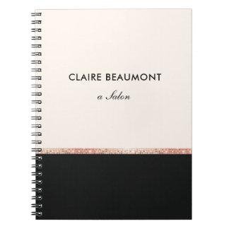 Cuaderno Negro color de rosa moderno elegante de la