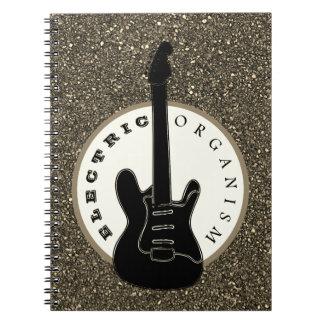 Cuaderno Negro eléctrico del purpurina de la música rock de