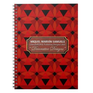 Cuaderno negro rojo decorativo de los círculos de