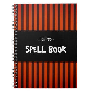 Cuaderno Negro y naranja de Halloween rayados