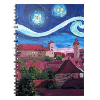 Cuaderno Noche estrellada en Nuremberg Alemania con el