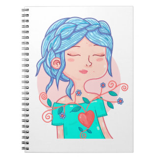 Cuaderno Notebook with Anali, heart with flowers