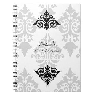 Cuaderno nupcial blanco y negro de la ducha