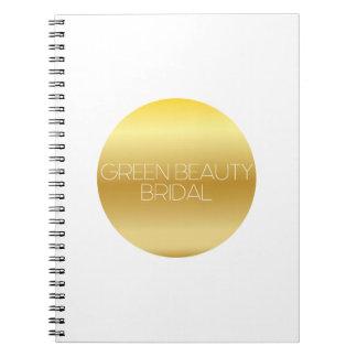 Cuaderno nupcial del logotipo de la belleza verde
