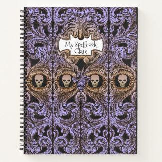 Cuaderno Ornamento y cráneo púrpuras Spellbook del gótico