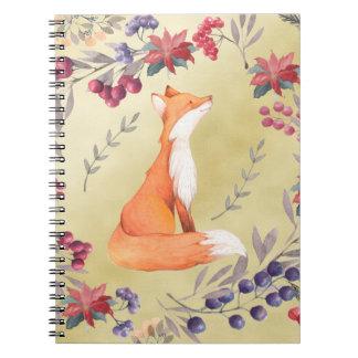 Cuaderno Oro de las bayas del invierno del Fox de la